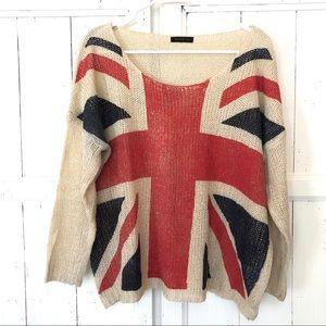 Oversized cotton wool blend knit sweater